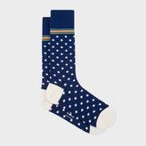 Paul Smith Men's Navy Polka Dot Socks With Multi-Stripe Trim