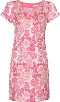Gina Bacconi Tonal pink matelassé jacquard dress