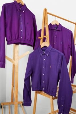 Urban Renewal Vintage Remade From Vintage Purple Branded Bubble Shirt - Purple M/L at Urban Outfitters