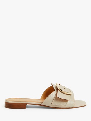 John Lewis & Partners Letty Leather Buckle Detail Slider Sandals