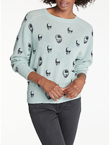 360 Sweater Ebony Skull Crew Neck Cashmere Jumper, Canal/Charcoal