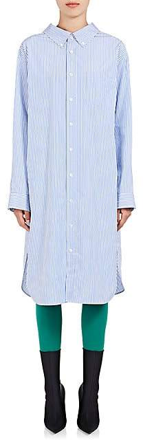 Balenciaga Women's Striped Cotton Shirtdress - Blue