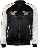 Topman Black Embroidered Eagle Reversible Souvenir Jacket