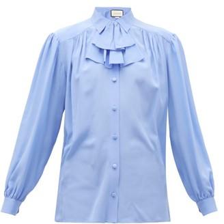 Gucci Detachable-ruffle Silk-crepe Blouse - Blue