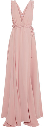 Reformation Camellia Ruffle-trimmed Gathered Crepe Maxi Wrap Dress