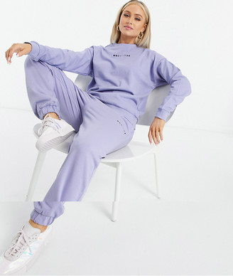 ASOS DESIGN Hourglass tracksuit oversized sweatshirt / oversized trackies with mini graphic in lilac