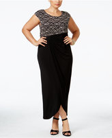 Connected Plus Size Sequined Lace Faux-Wrap Gown