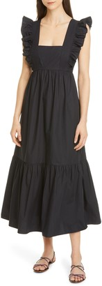 Self-Portrait Ruffle Cotton Poplin Maxi Dress