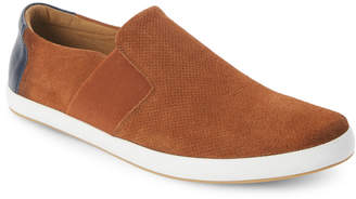 English Laundry Cognac Green Perforated Slip-On Sneakers