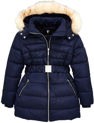 Very Girls Faux Fur Hooded Belted Coat -Navy