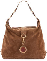 Lanvin Large Nubuck Leather Hobo Bag, Dark Beige
