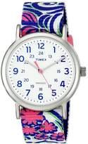Timex TW2P90200 Weekender Women's Watch Flower Pattern- White, Pink, Purple, Green 38mm Stainless Steel