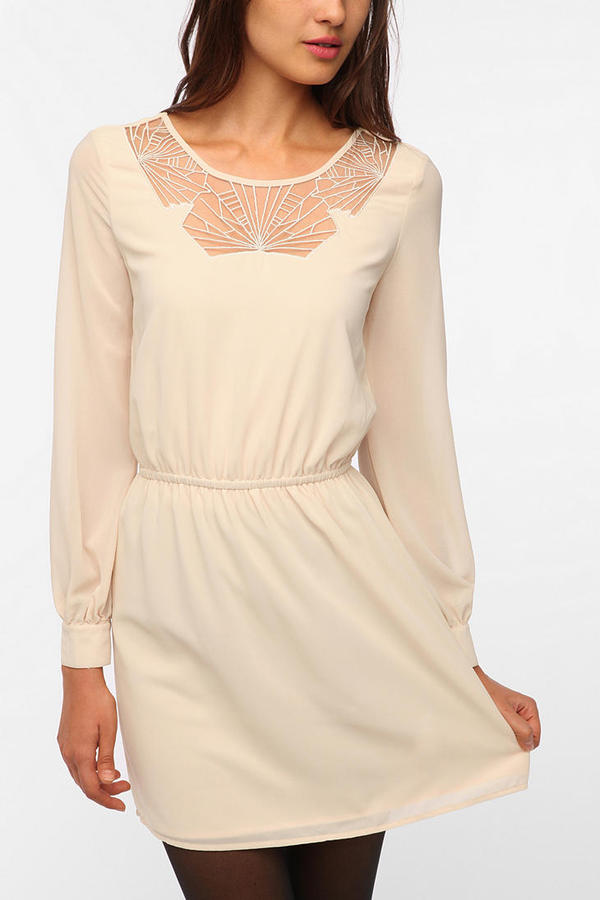 Urban Outfitters Pins and Needles Geo Mesh Inset Dress
