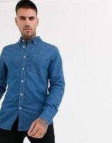 Asos Design DESIGN stretch slim organic denim shirt in mid wash
