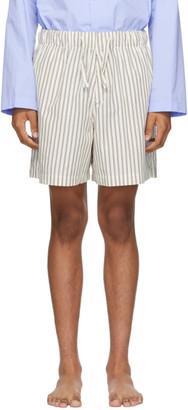 Tekla White and Brown Pyjama Shorts