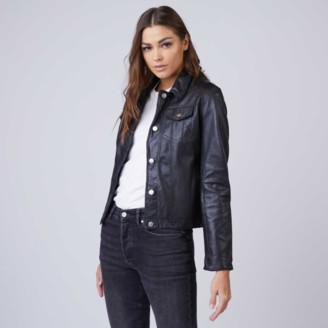 DSTLD Leather Trucker Jacket in Black