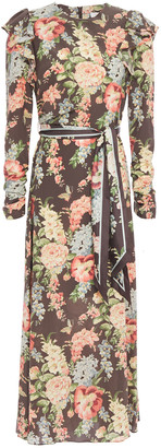 Zimmermann Espionage Ruffled Floral-print Stretch-silk Crepe Midi Dress