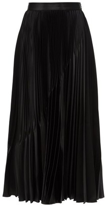 Givenchy Inverted-pleat Satin Midi Skirt - Black