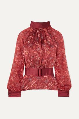 Harmur HARMUR - Open-back Floral-print Silk-satin And Silk-chiffon Blouse - Burgundy