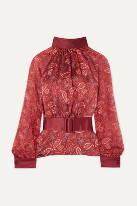 HARMUR - Open-back Floral-print Silk-satin And Silk-chiffon Blouse - Burgundy