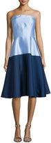 Erin Fetherston Strapless Colorblock Midi Cocktail Dress, Cornflower/Navy
