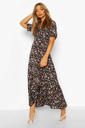 boohoo Wrap Front Ruffle Detail Floral Midaxi
