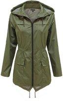 Envy Boutique Ladies Womens Plain Parka Mac Hooded Waterproof Raincoats Fishtail Jacket