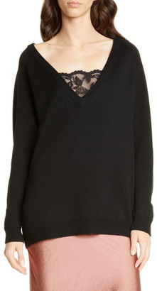 Smythe Lace Inset V-Neck Merino Wool Blend Sweater