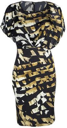 Blumarine Black Printed Overlay Short Sleeve Dress S