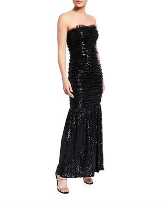 Aidan Mattox Ruched Sequin Knit Strapless Dress