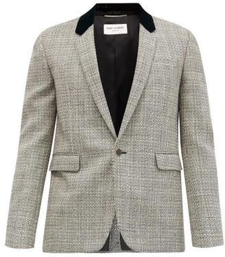 Saint Laurent Single-breasted Houndstooth Wool Blazer - Grey