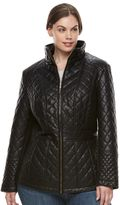 Gallery Plus Size Quilted Faux-Leather Jacket