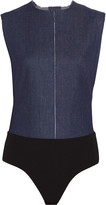 SOLACE London Benet cutout denim and stretch-jersey bodysuit