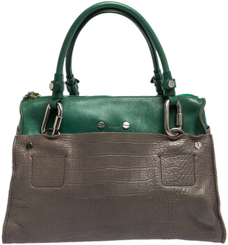 Chloé Grey/Green Croc Embossed Leather Buckle Handle Satchel