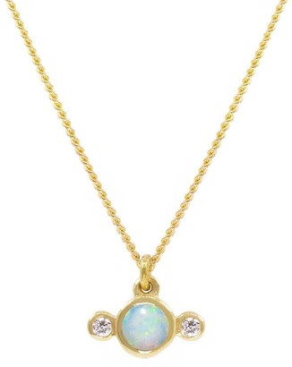 Lee Renee Opal & Diamond Necklace Gold