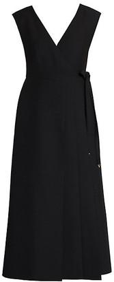 Valentino Wool & Silk Apron Wrap Dress