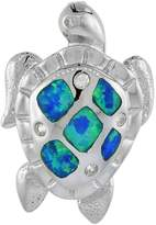 Sabrina Silver Sterling Silver Sea Turtle Pendant Synthetic Opal Inlay Cubic Zirconia Accent, 1 inch tall