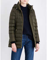 Burberry Ladies Dark Olive Exposed Zip Linefield Quilted Down and Feather-Blend Puffer Coat