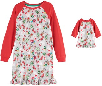 Cuddl Duds Girls 4-16 Jammies For Your Families Fun Santa Nightgown & Matching Doll Gown