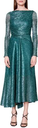 Talbot Runhof Pleated Long Sleeve Metallic Voile Midi Dress