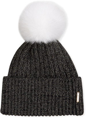 Gorski Metallic Wool Blend Hat w/ Fox Fur Pompom