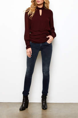 On The Road Issa Keyhole Mock neck Top