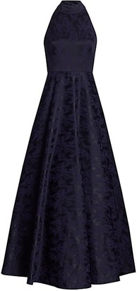 ML Monique Lhuillier Sleeveless Jacquard Mockneck Gown