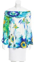 Blumarine Silk Watercolor Print Top