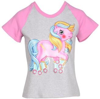 Moschino My Little Pony Melange Gray and Pink Cotton Women's T-Shirt