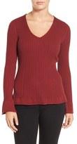 Halogen Bell Sleeve Rib Knit V-Neck Sweater (Regular & Petite)