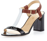 Kate Spade Aisha Colorblock T-Strap Sandal, Luggage/Black/White