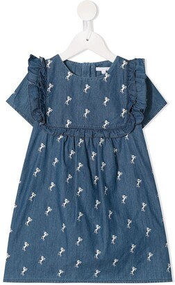 Chloé Kids Horse Print Ruffled Denim Dress