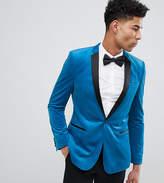 Asos Design Tall Skinny Blazer In Bright Blue Velvet