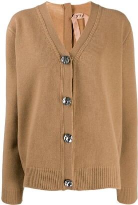 No.21 crystal detail oversized cardigan